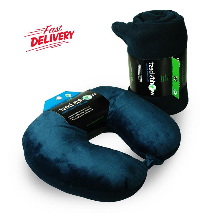 Microbead Neck Pillow and Blanket Travel Pack Spandex Comfort Microflee Navy