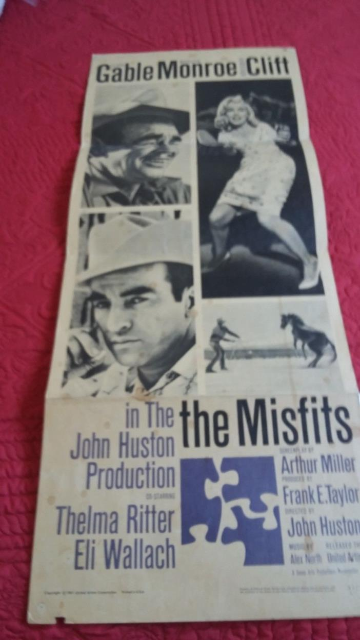 THE MISFITS MOVIE POSTER ORIGINAL RELEASE INSERT