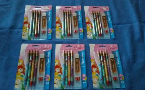 Disney Princess PaperMate 24 Pencils 1.3mm & Extra lead & Erasers x 6 pks NIP