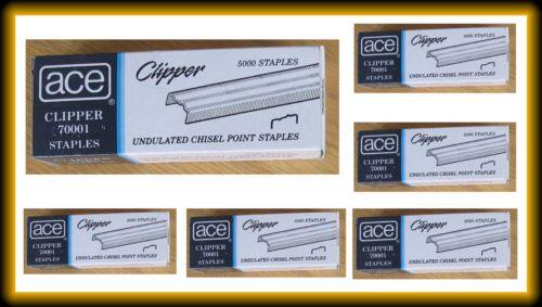12 Boxes Ace Clipper Undulated Chisel Point Staple 70001 60,000 Staples for #702