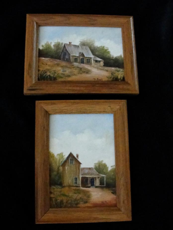 SET OF 2 SMALL PRIMITIVE RURAL FARMHOUSE CANVAS OIL PAINTINGS SIGNED & FRAMED