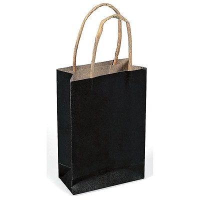 12 (1 dozen) Mini Black Wedding Gift Bag w/ Jute Handles