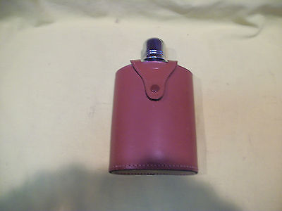 Vintage Liquor Glass Flask Made in England, Top Grain Cowhide Cover - MINT