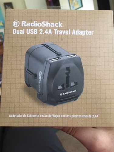 RadioShack Dual USB 2.4A Travel Adapter-NIB - Phone Tablet Laptop Charger