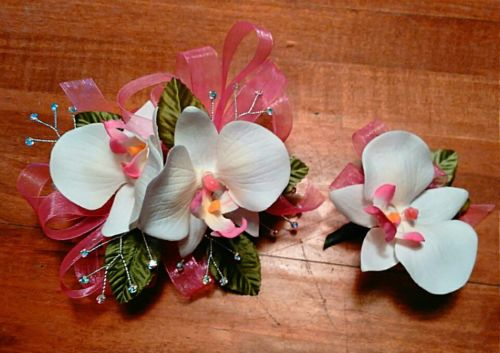 White Orchid Pink Ribbon Wrist Corsage and Boutonniere Set