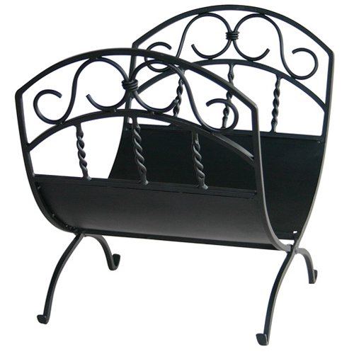 UniFlame Black Wrought Iron Log Rack with Scrolls