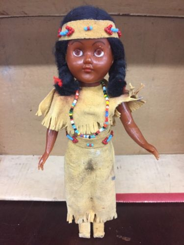 Vintage Native American Indian Doll Papoose Beaded Suede Clothes Sleepy Eyes