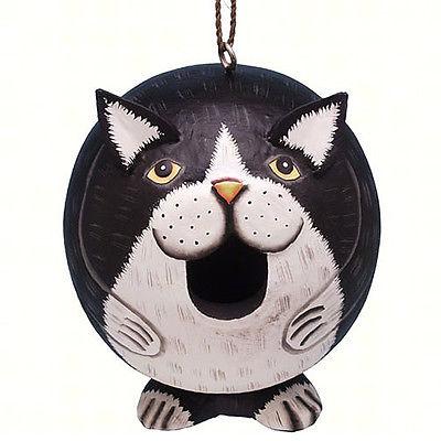 BIRD HOUSES - BLACK & WHITE CAT BIRD HOUSE - CAT BIRDHOUSE - GARDEN DECOR