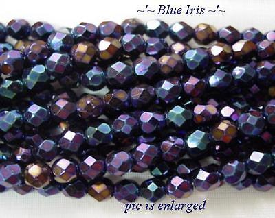 50 Stunning Blue Iris Faceted Glass Beads 6MM