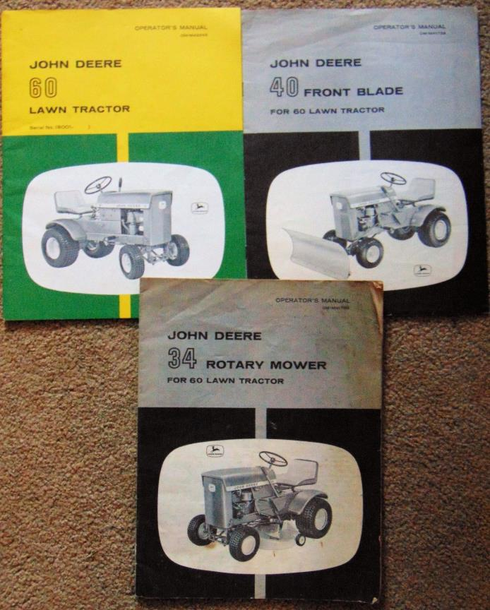 John Deere 60 Lawn Tractor Operators Manual OM-M42248~40 Front Blade~34 Rotary