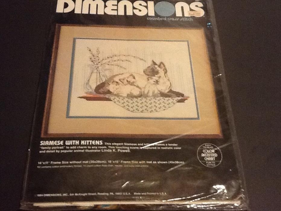 Vintage DEMENSIONS Counted Cross Stitch Kit SIAMES WITH KITTENS