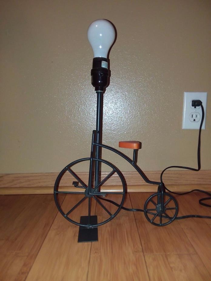 Metal High Wheel table nightstand lamp w/wood seat
