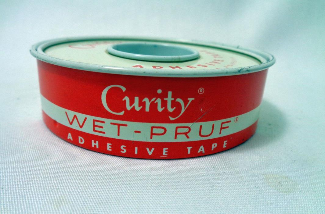 Vintage Curity Red and White Tin Made in USA Tape Sold For 43 Cents