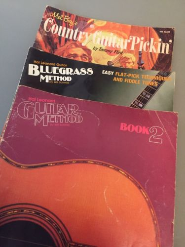 VTG Lot of 3-Hal Leonard Guitar Method Book 2, Bluegrass Method, Mel Bay Country