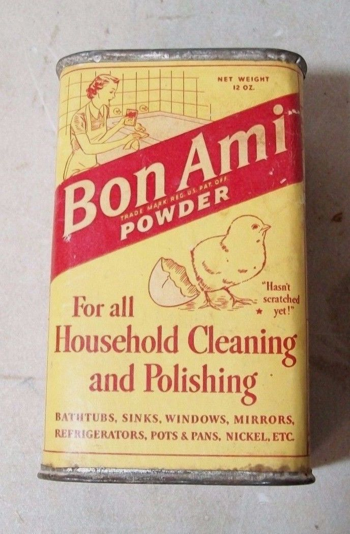 Vintage Bon Ami Household Cleaning Powder Cardboard Tin