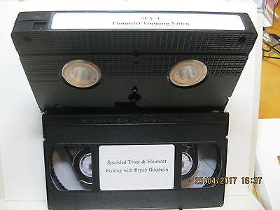 x2 VHS Trout Flounder Fishing & Flounder Gigging North Carolina