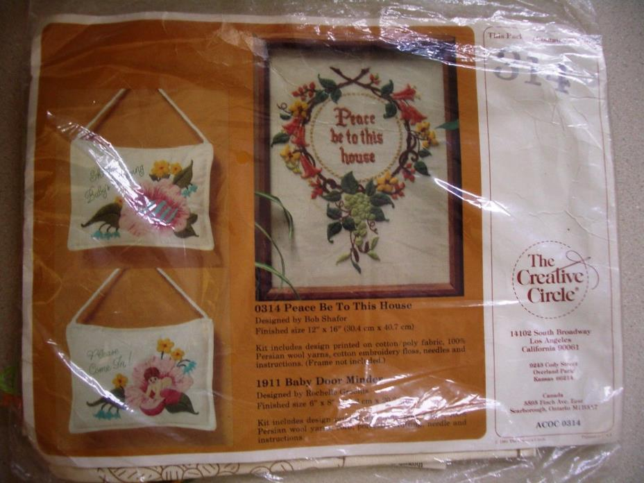 Vintage Crewel Embroidery Kit PEACE BE TO THIS HOUSE Creative Circle # 314 NOS
