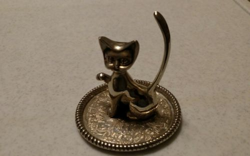 silver plate cat jewlery holder