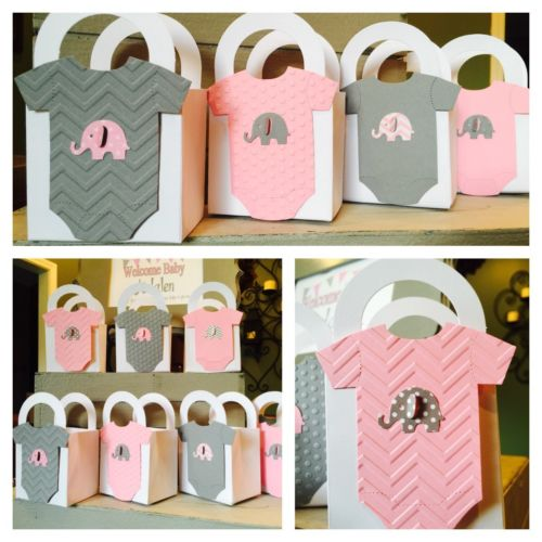 12 Elephant Baby shower favor boxes  Pink & Grey Embossed  Adorable!!