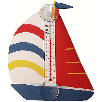 THERMOMETERS - COLORFUL SAILBOAT LARGE WINDOW THERMOMETER