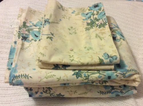VINTAGE- Queen Sheet Set, Blue-Green Floral Pattern