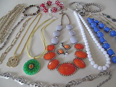 21 piece lot necklaces earrings bracelets orange red green blue gold silver tone