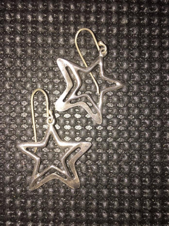 SILPADA STERLING SILVER DOUBLE STAR EARRINGS W1403