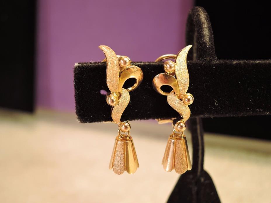 Estate 14k rose gold omega clip ear rings