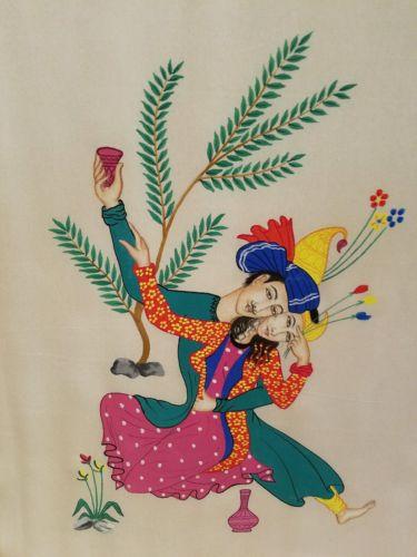Original painting on silk of Hindu couple