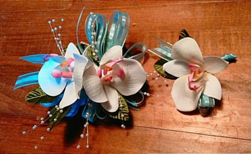 White Orchid Aqua Blue Ribbon Wrist Corsage and Boutonniere Set