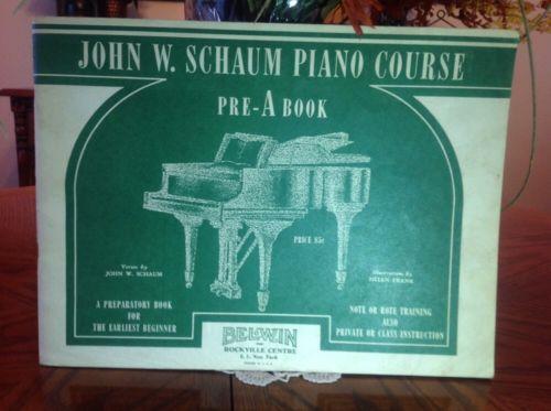 JOHN W. SCHAUM PIANO COURSE PRE-A BOOK VINTAGE 1945