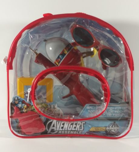Avengers Backpack Fishing Kit Sunglasses Tackle Box w/ Telescopic Rod Reel Line