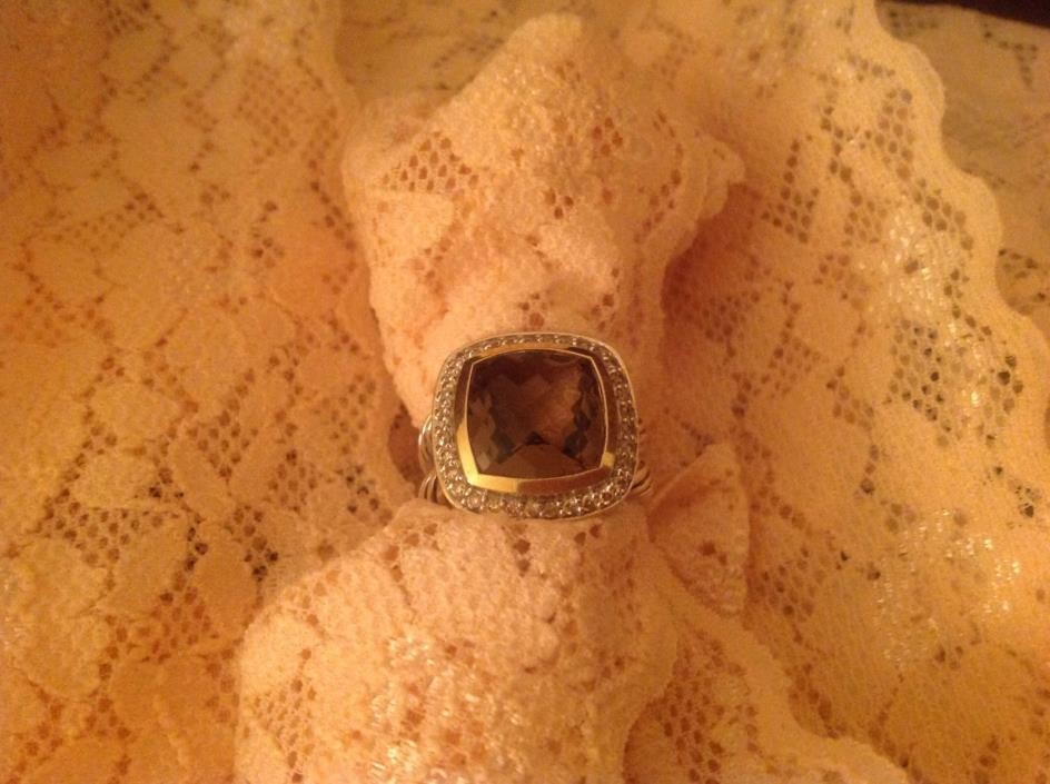 GORGEOUS DAVID YURMAN STERLING SILVER AND 18K GOLD SMOKY QUARTZ RING - SIZE 6.5