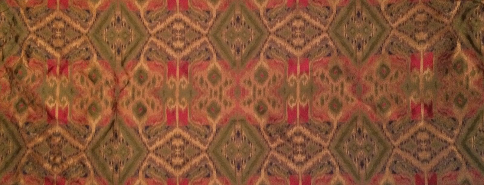 CLARENCE HOUSE Ikat Central Asian woven silk green blue red remnant new