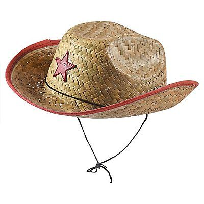 Red Straw Sheriff Hat - Child Size - Child's Straw Sheriff Hat With Red Trim And