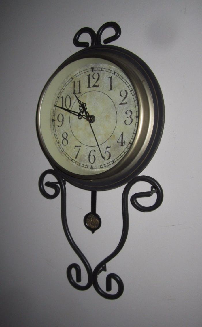 Geneva Metal / Wrought Iron Pendulum Wall Clock -