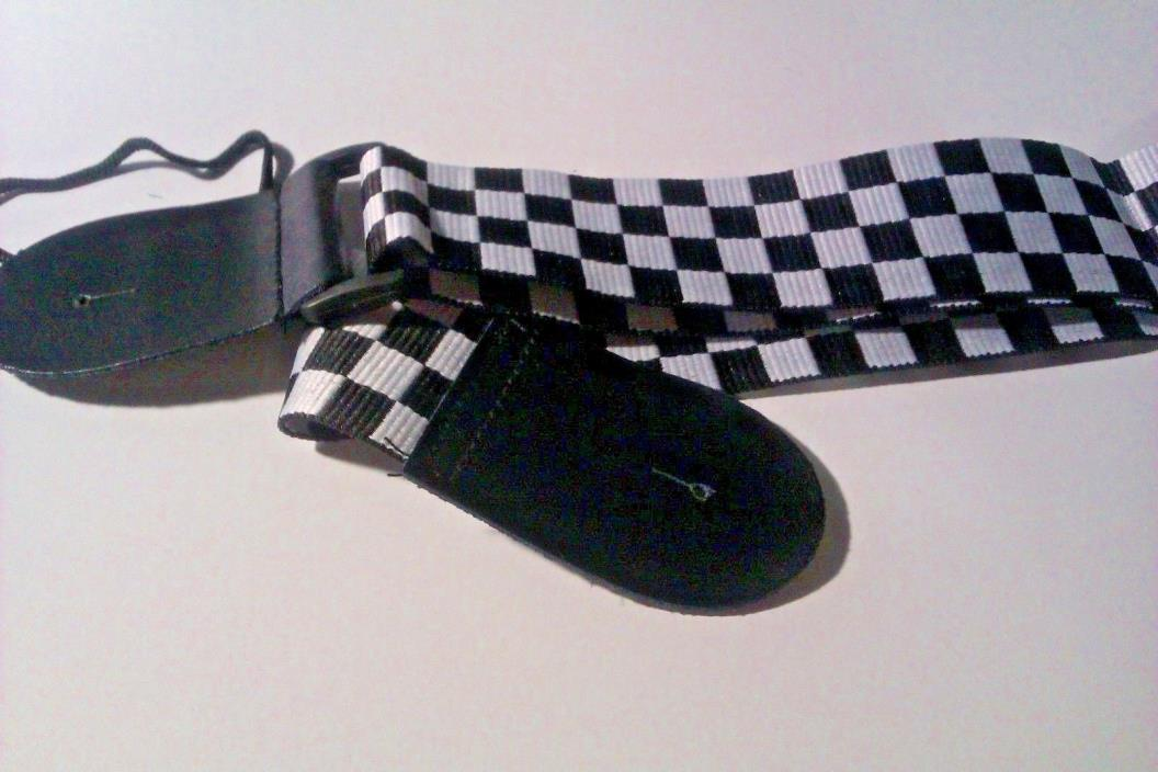 NEW Checkered Guitar Strap - Black & White - Free Shipping