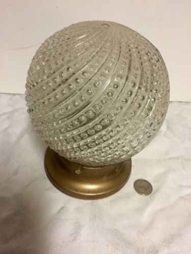 Cool Retro Light Fixture Spiral Hobnail Round Globe With Fixture