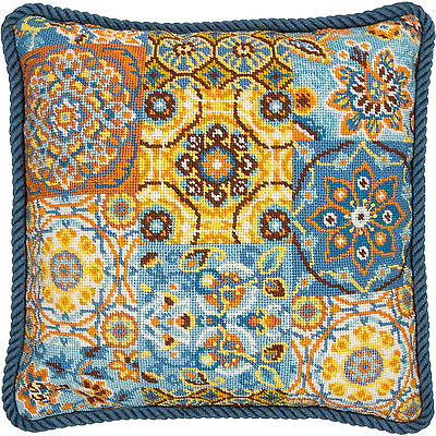 Needlepoint Kit ~ Dimensions Patterns on Blue Floral Picture / Pillow #71-20081