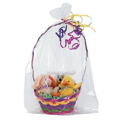 12 (1 dozen) Clear Cellophane Gift Basket Cover Bag