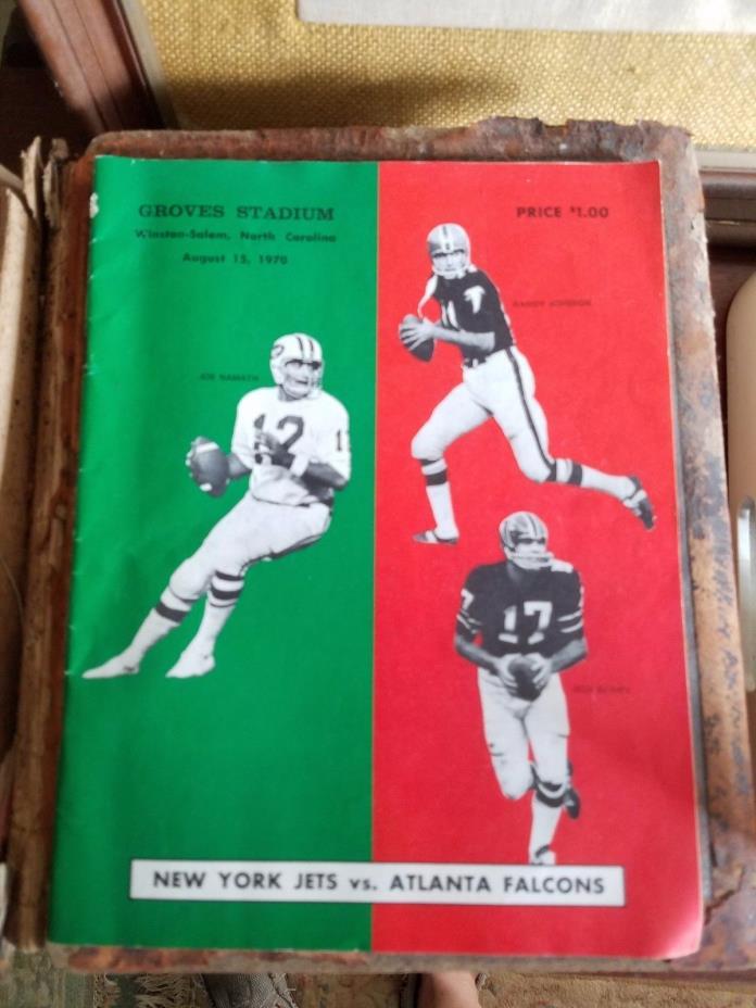 NEW YORK JETS VS. ATLANTA FALCONS PROGRAM 1969 EXHIBITION GAME JOE NAMATH RARE