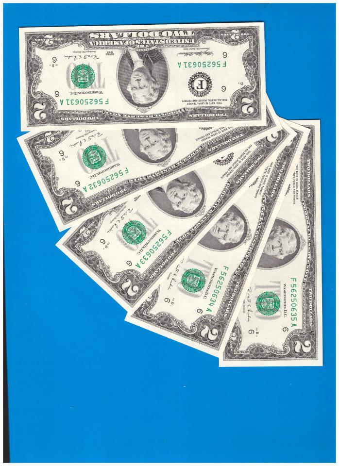 FIVE Sequential $2 Two Dollar Bills, Crisp GEM Uncirculated, 1995 F Atlanta  F58