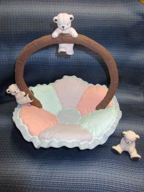 Vintage Ceramic Easter Spring Basket Stuffed Quilted Teddy Bear 1991