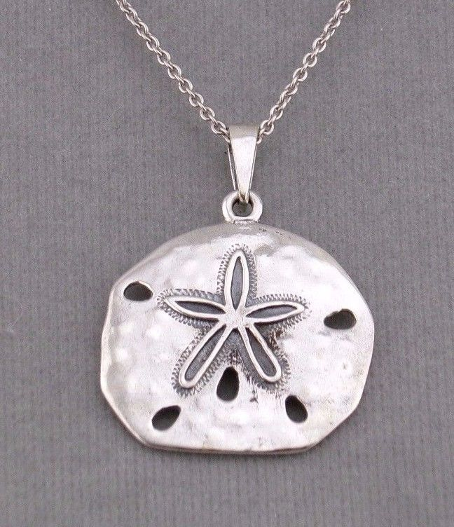 925 Sterling Silver Sand Dollar Pendant Necklace Nautical Jewelry NEW