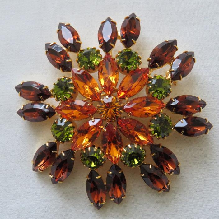 Vintage Juliana Style Flower Rhinestone Green Caramel Orange Large Brooch Pin