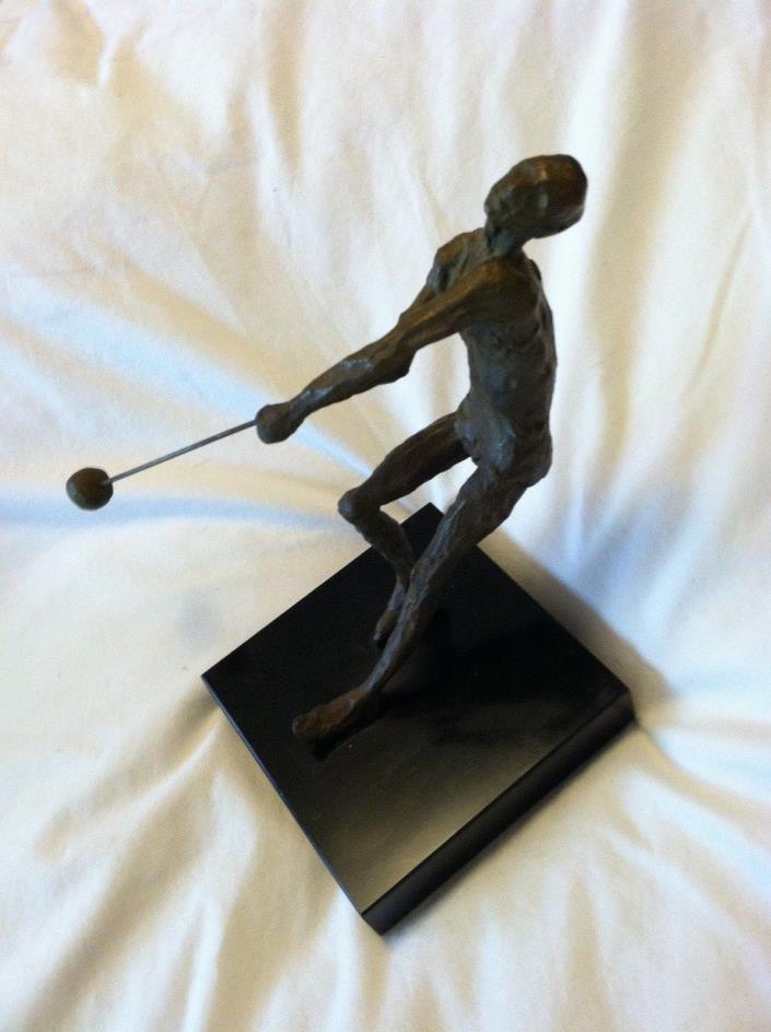 Vintage Bronze Golf Man Golfer in Agony Statue Sculpture 6 1/2