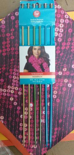 Boye Anodized Aluminum Knitting Needle Set of 6 NEW