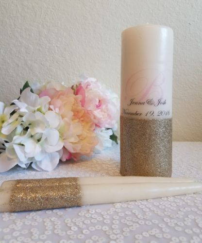 Personalized Blush and Champagne Gold Glitter Unity Candle Set , Wedding candle