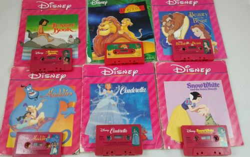 Vintage DISNEY Read Along Books and Cassette Tapes Lot of 6