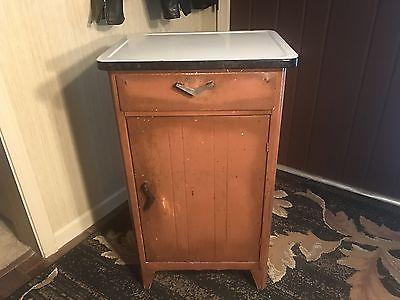 Vintage Metal Cabinet Porcelain Top Kitchen Storage Cabinet Tool!